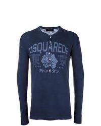 dunkelblauer Henley-Pullover mit Blumenmuster von DSQUARED2