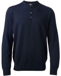 dunkelblauer Henley-Pullover