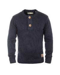 dunkelblauer Henley-Pullover von Solid