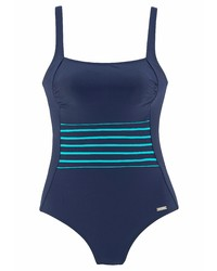 dunkelblauer horizontal gestreifter Badeanzug von Lascana