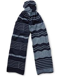 dunkelblauer horizontal gestreifter Baumwollschal von Missoni