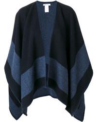 dunkelblauer horizontal gestreifter Cape Mantel, weißes T