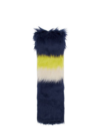 dunkelblauer horizontal gestreifter Pelzschal von Gucci