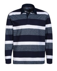 dunkelblauer horizontal gestreifter Polo Pullover von Big fashion
