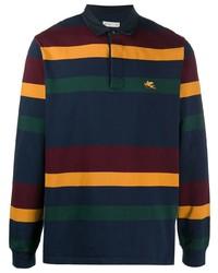 dunkelblauer horizontal gestreifter Polo Pullover von Etro
