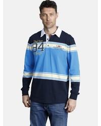 dunkelblauer horizontal gestreifter Polo Pullover von Jan Vanderstorm