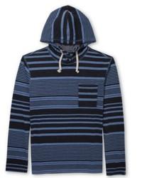 dunkelblauer horizontal gestreifter Pullover mit einem Kapuze