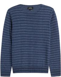 dunkelblauer horizontal gestreifter Pullover mit einem Rundhalsausschnitt