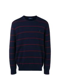 dunkelblauer horizontal gestreifter Pullover mit einem Rundhalsausschnitt von Ralph Lauren