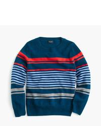 dunkelblauer horizontal gestreifter Pullover