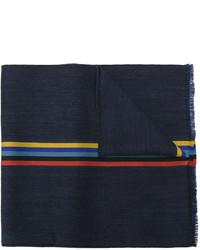 dunkelblauer horizontal gestreifter Wollschal von Paul Smith