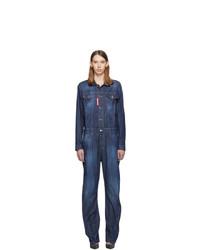 dunkelblauer Jumpsuit aus Jeans von Dsquared2