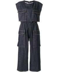 dunkelblauer Jumpsuit aus Jeans von MM6 MAISON MARGIELA