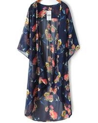 dunkelblauer Kimono mit Blumenmuster