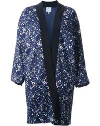 dunkelblauer Kimono mit Blumenmuster von Façonnable