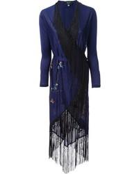 dunkelblauer Kimono mit Blumenmuster von Jean Paul Gaultier