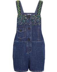 dunkelblauer kurzer Jumpsuit aus Jeans von Miu Miu
