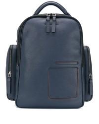 dunkelblauer Leder Rucksack von Ermenegildo Zegna