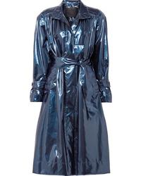 dunkelblauer Leder Trenchcoat von Marc Jacobs
