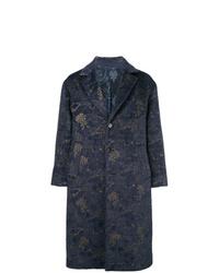 dunkelblauer Mantel mit Blumenmuster