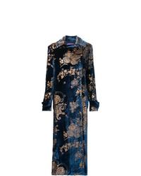 dunkelblauer Mantel mit Blumenmuster von Ralph Lauren