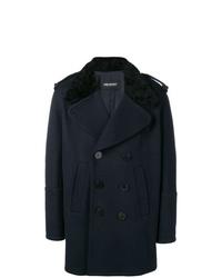 dunkelblauer Mantel mit einem Pelzkragen von Neil Barrett