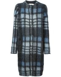 dunkelblauer Mantel mit Schottenmuster von Tory Burch