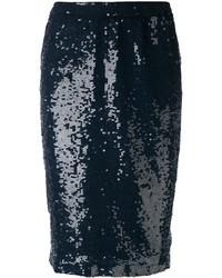 dunkelblauer Pailletten Bleistiftrock von P.A.R.O.S.H.