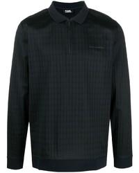 dunkelblauer Polo Pullover mit Hahnentritt-Muster von Karl Lagerfeld