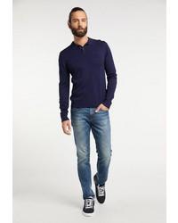 dunkelblauer Polo Pullover von Dreimaster