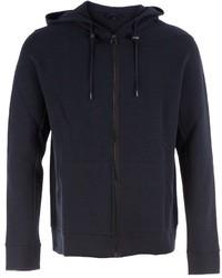 dunkelblauer Pullover mit einem Kapuze