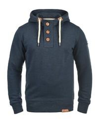 dunkelblauer Pullover mit einem Kapuze von Solid