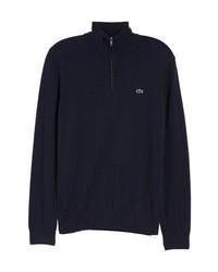 dunkelblauer Pullover mit einem Reißverschluss am Kragen