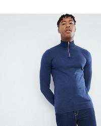 dunkelblauer Pullover mit einem Reißverschluss am Kragen von ASOS DESIGN