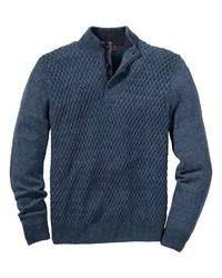 dunkelblauer Pullover mit einem Reißverschluss am Kragen von B. von Schönfels