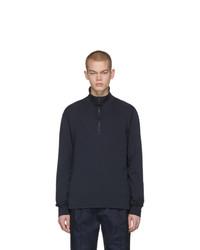 dunkelblauer Pullover mit einem Reißverschluss am Kragen von Barena