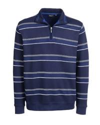 dunkelblauer Pullover mit einem Reißverschluss am Kragen von Bexleys man