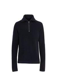 dunkelblauer Pullover mit einem Reißverschluss am Kragen von Burberry
