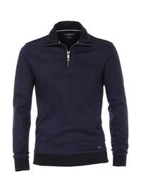 dunkelblauer Pullover mit einem Reißverschluss am Kragen von Casamoda