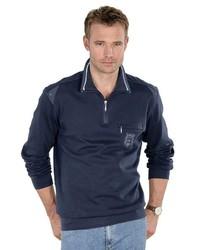 dunkelblauer Pullover mit einem Reißverschluss am Kragen von Classic
