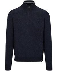 dunkelblauer Pullover mit einem Reißverschluss am Kragen von COMMANDER