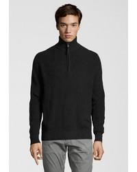 dunkelblauer Pullover mit einem Reißverschluss am Kragen von Dstrezzed