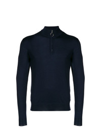 dunkelblauer Pullover mit einem Reißverschluss am Kragen von Eleventy