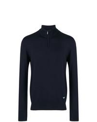 dunkelblauer Pullover mit einem Reißverschluss am Kragen von Emporio Armani