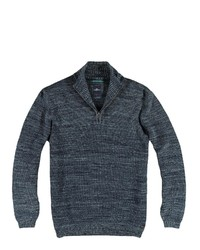 dunkelblauer Pullover mit einem Reißverschluss am Kragen von ENGBERS
