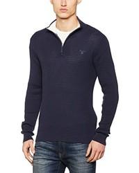 dunkelblauer Pullover mit einem Reißverschluss am Kragen von Gant