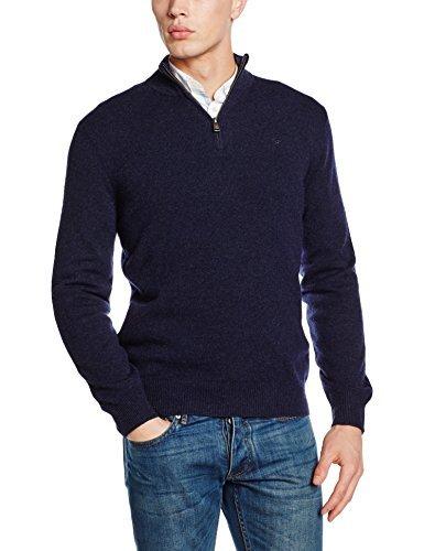 dunkelblauer Pullover mit einem Reißverschluss am Kragen von Hackett London