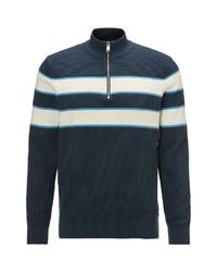 dunkelblauer Pullover mit einem Reißverschluss am Kragen von Marc O'Polo