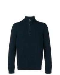 dunkelblauer Pullover mit einem Reißverschluss am Kragen von Salvatore Ferragamo
