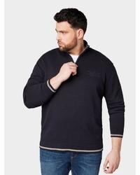dunkelblauer Pullover mit einem Reißverschluss am Kragen von Tom Tailor